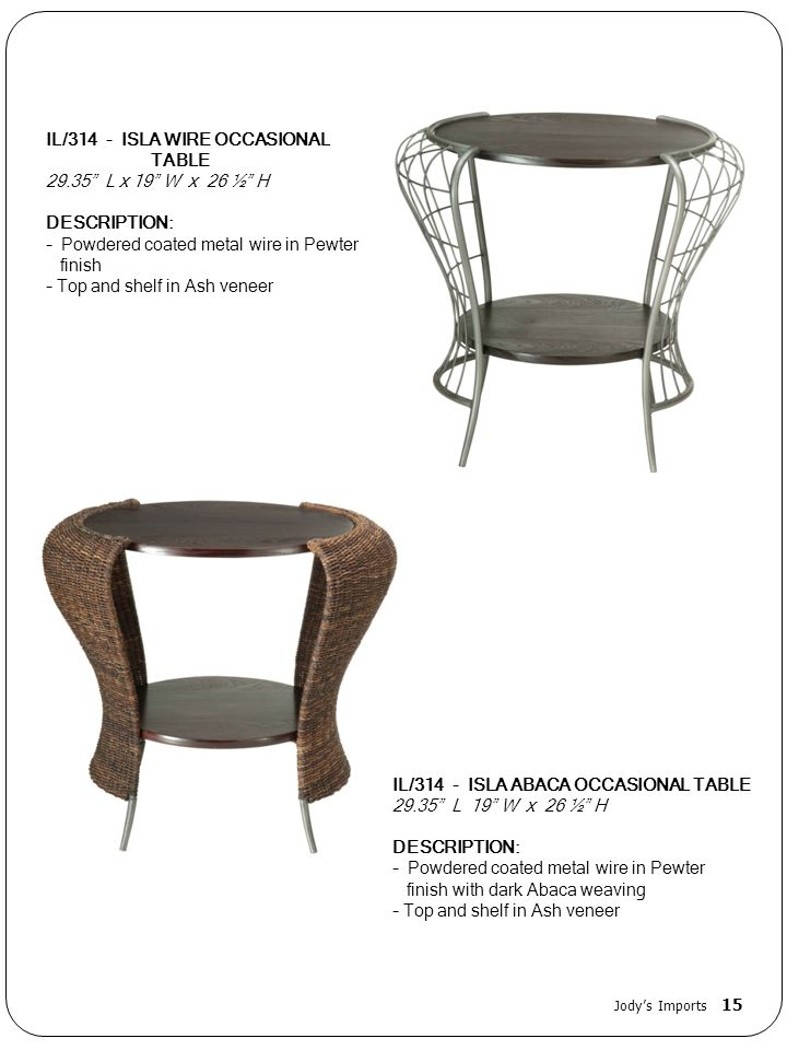 IL/314 - ISLA WIRE OCCASIONAL TABLE 29.35 L x 19 W x 26 ½ H