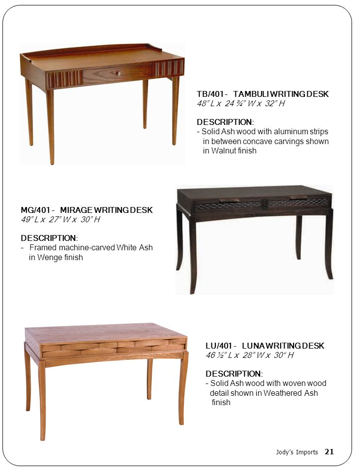 TB/401 - TAMBULI WRITING DESK 48 L x 24 ¾ W x 32 H DESCRIPTION: