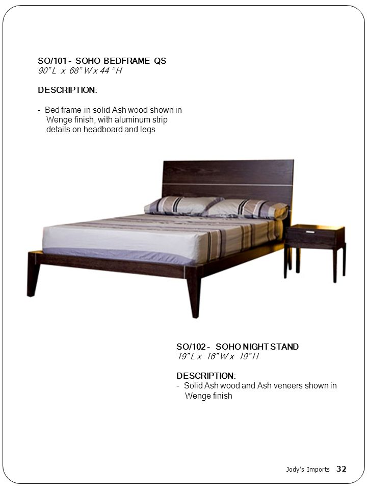 Bed frame in solid Ash wood shown in Wenge finish, with aluminum strip