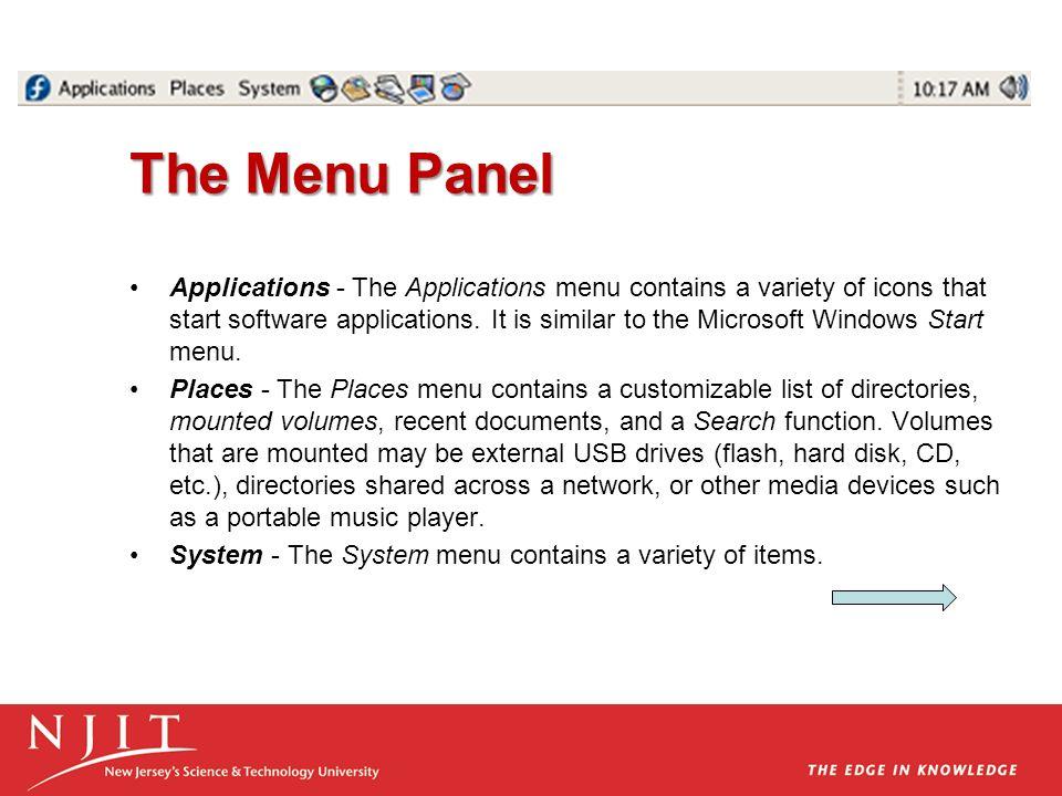 The Menu Panel