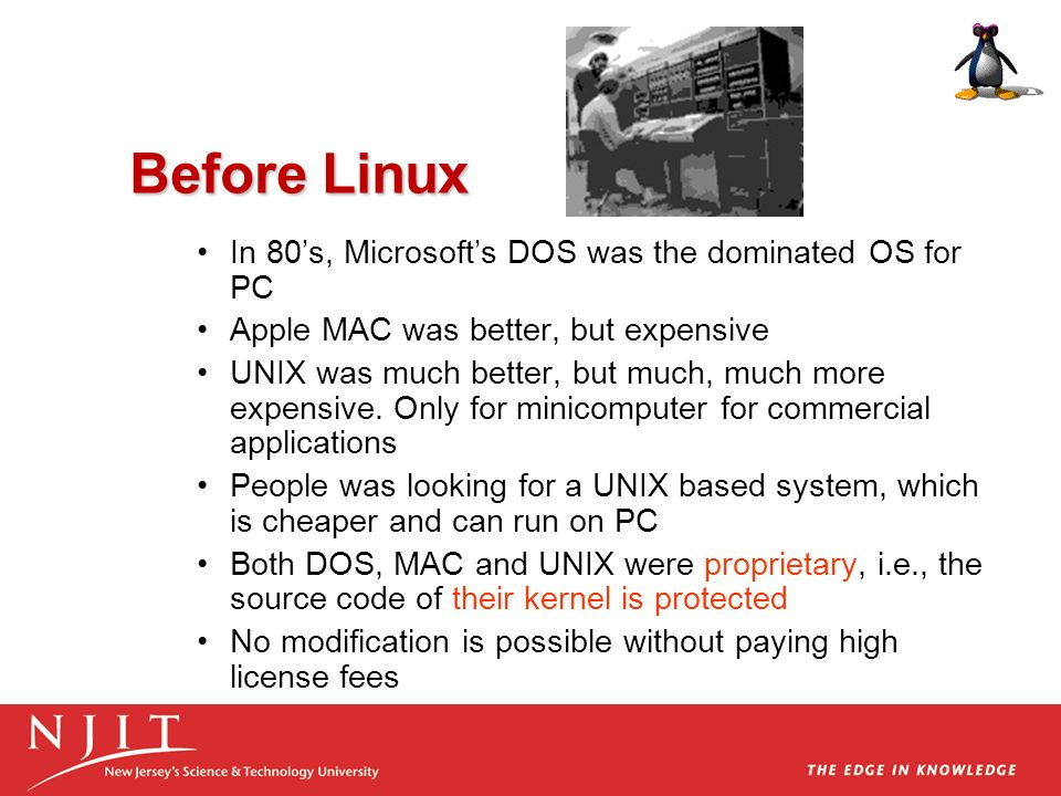 Before Linux In 80's, Microsoft's DOS was the dominated OS for PC