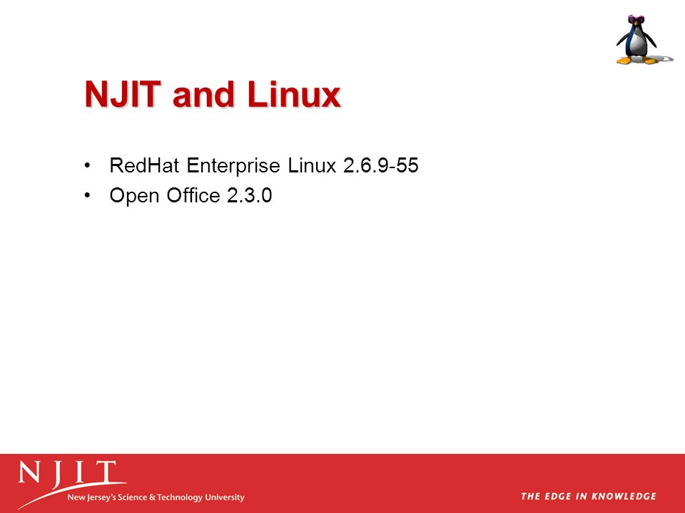 NJIT and Linux RedHat Enterprise Linux 2.6.9-55 Open Office 2.3.0