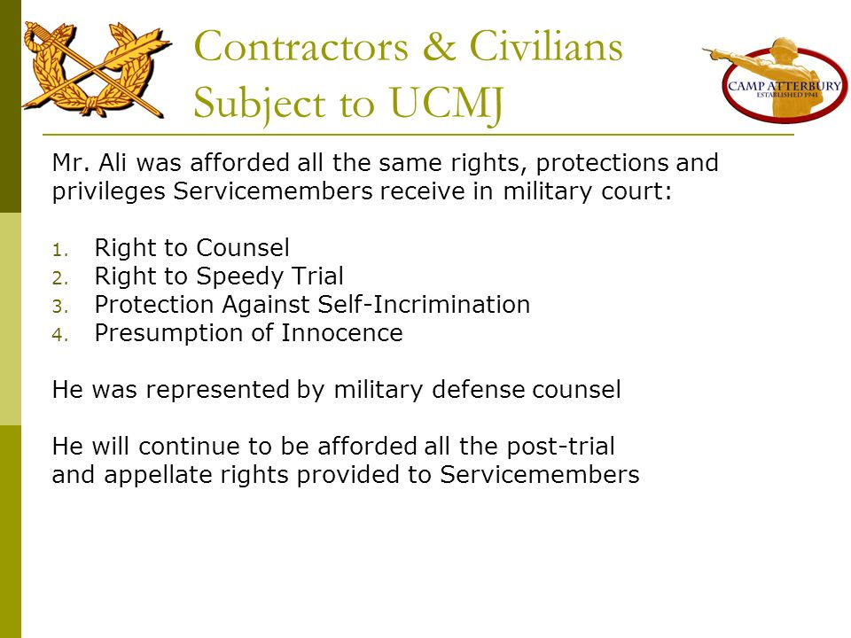 Contractors & Civilians Subject to UCMJ