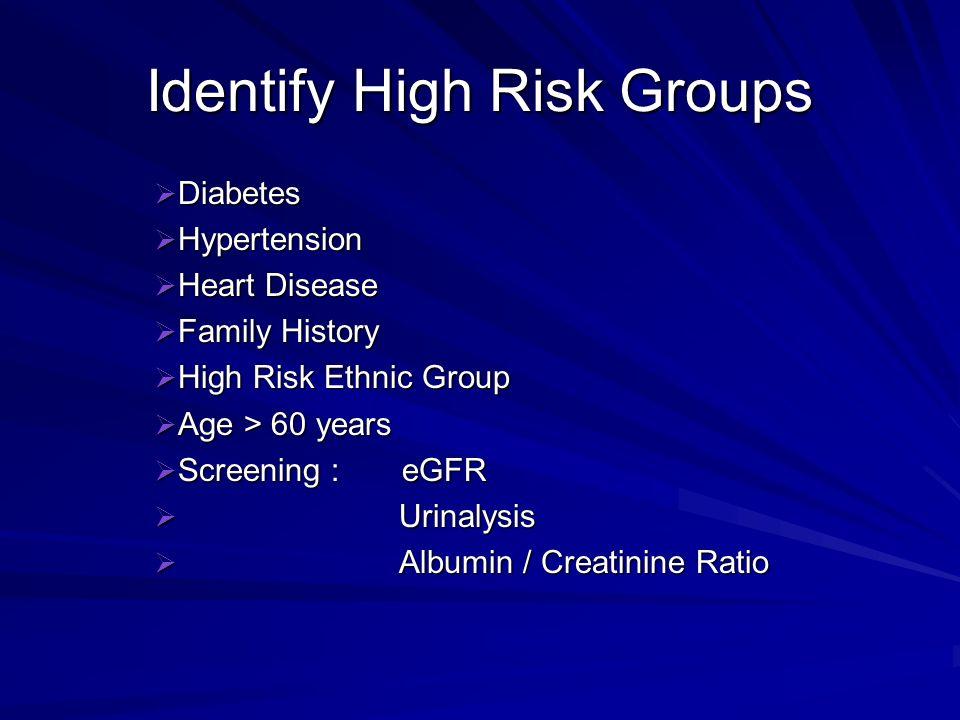 Identify High Risk Groups
