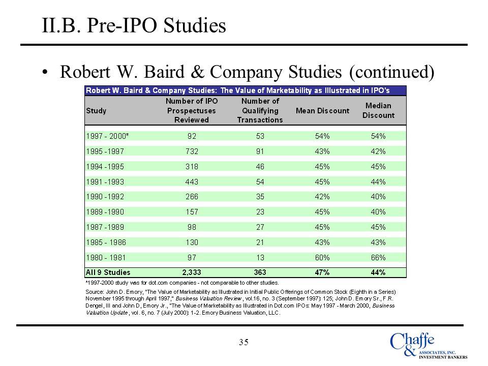 II.B. Pre-IPO Studies Robert W. Baird & Company Studies (continued) 35