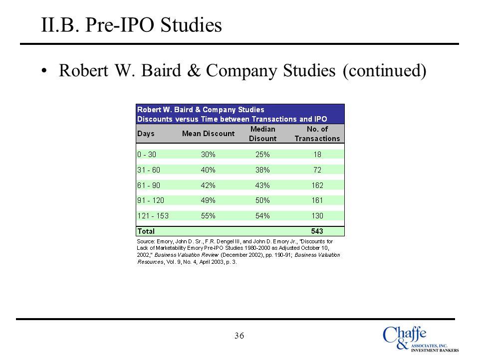 II.B. Pre-IPO Studies Robert W. Baird & Company Studies (continued) 36