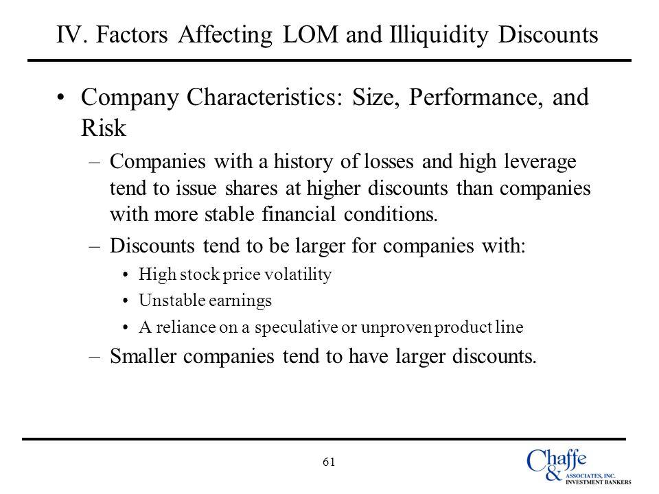 IV. Factors Affecting LOM and Illiquidity Discounts