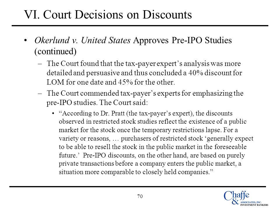 VI. Court Decisions on Discounts