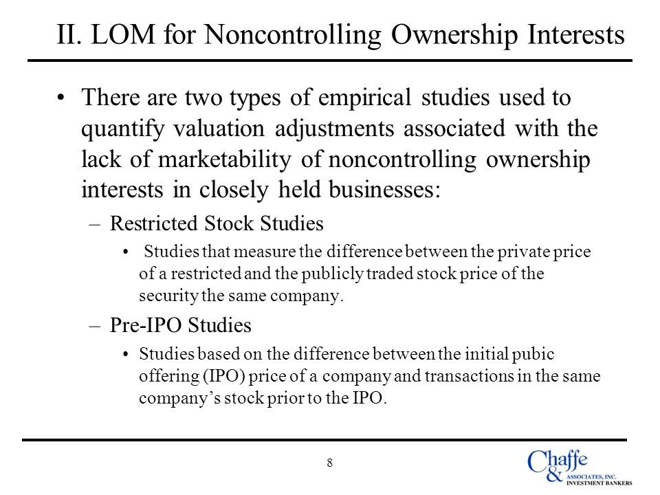 II. LOM for Noncontrolling Ownership Interests