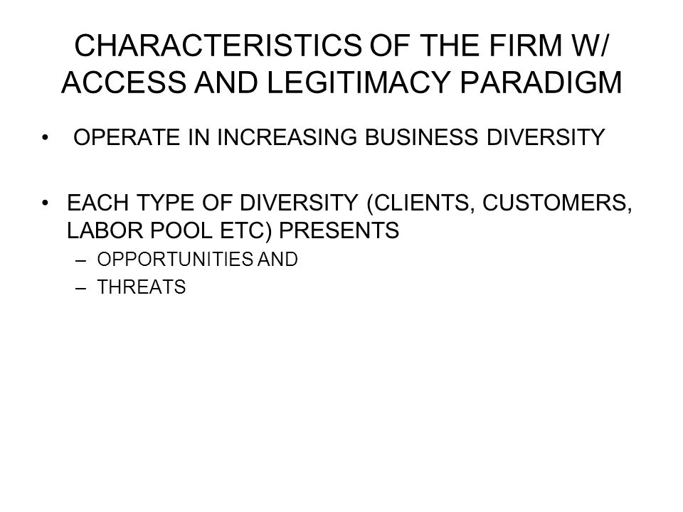 CHARACTERISTICS OF THE FIRM W/ ACCESS AND LEGITIMACY PARADIGM