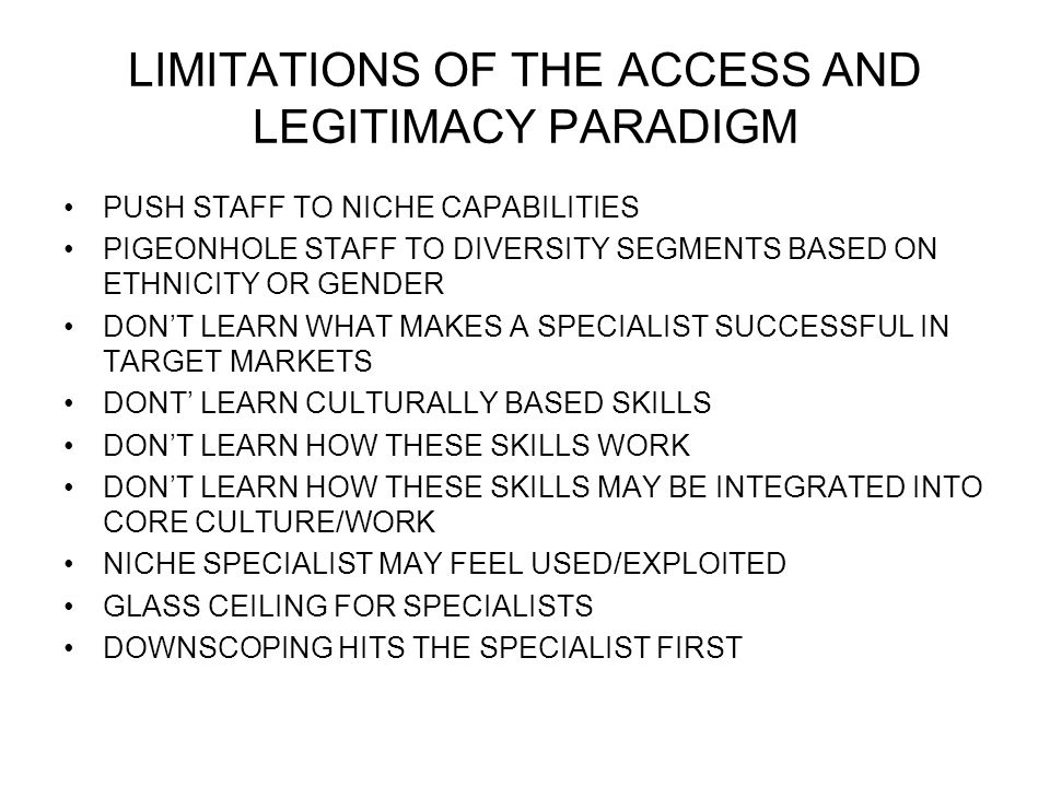 LIMITATIONS OF THE ACCESS AND LEGITIMACY PARADIGM