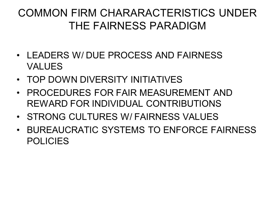 COMMON FIRM CHARARACTERISTICS UNDER THE FAIRNESS PARADIGM