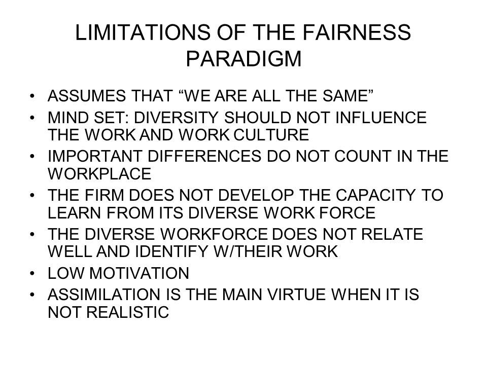 LIMITATIONS OF THE FAIRNESS PARADIGM