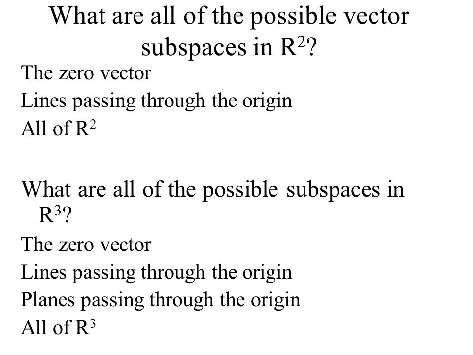 What are all of the possible vector subspaces in R2