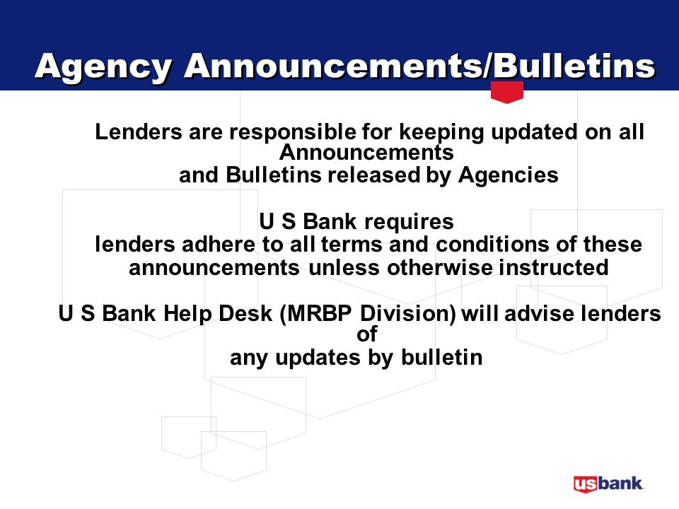 Agency Announcements/Bulletins