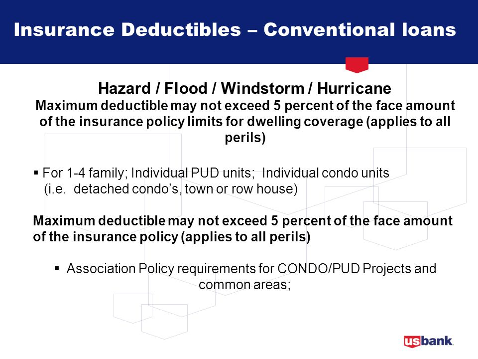 Insurance Deductibles – Conventional loans