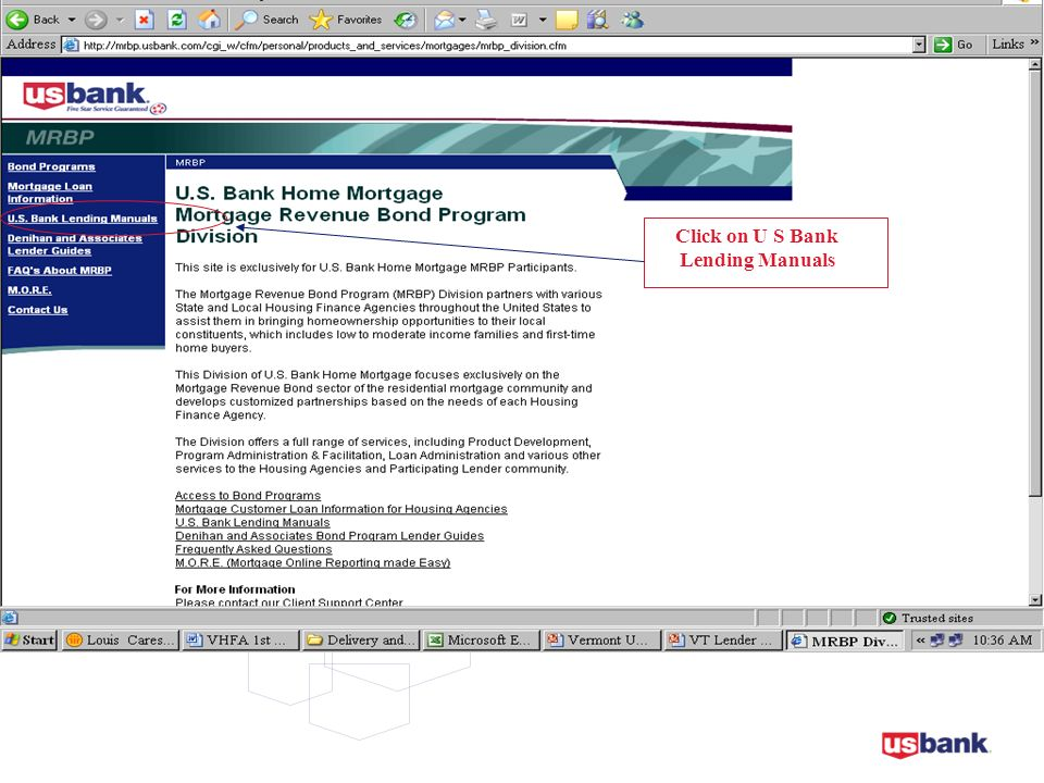 Click on U S Bank Lending Manuals