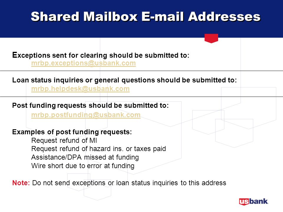 Shared Mailbox E-mail Addresses
