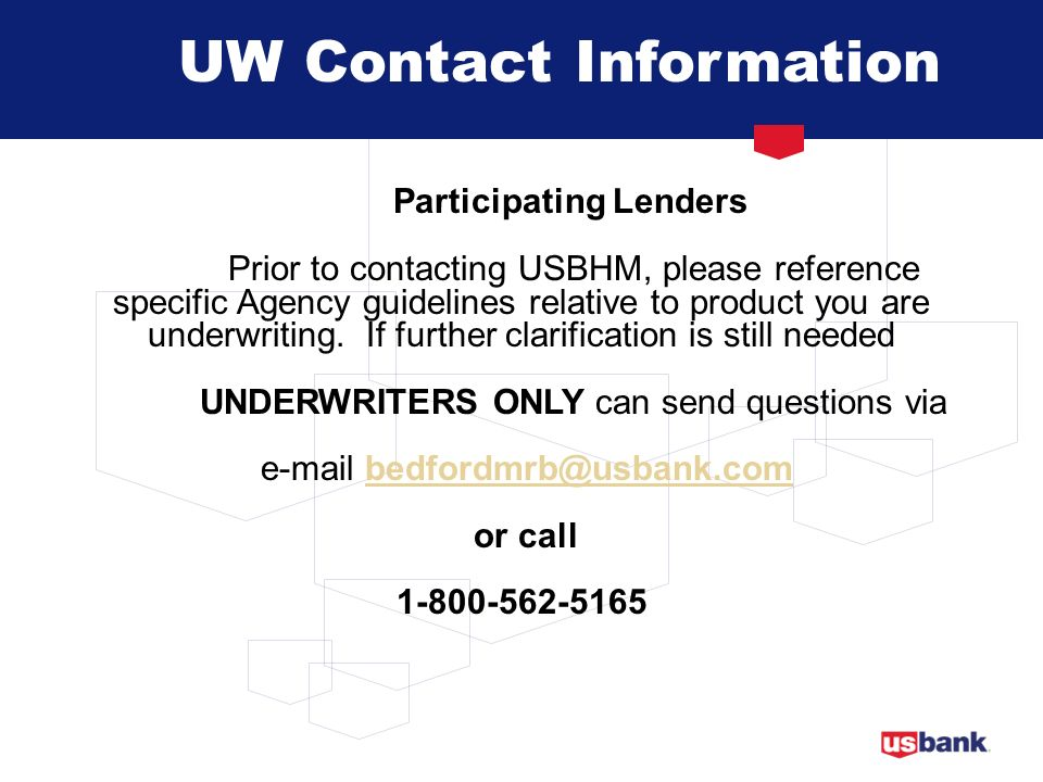 UW Contact Information Participating Lenders.