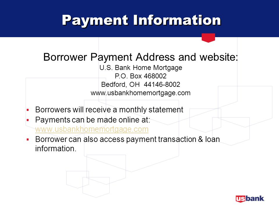 Borrower Payment Address and website:
