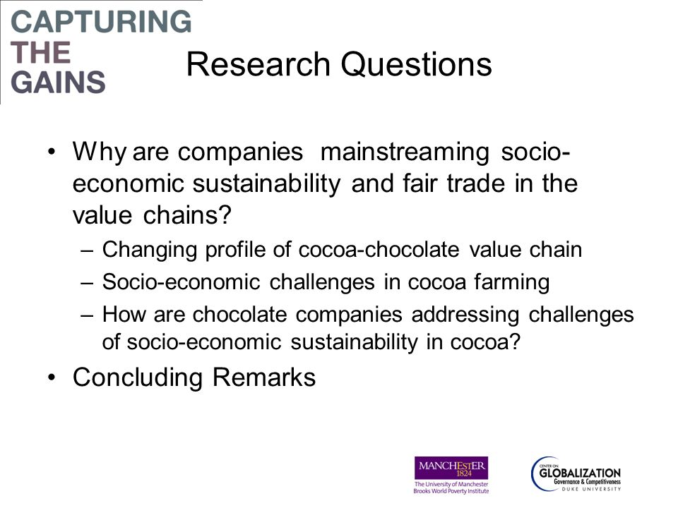 Research Questions Why are companies mainstreaming socio-economic sustainability and fair trade in the value chains