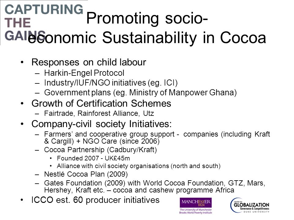 Promoting socio- economic Sustainability in Cocoa