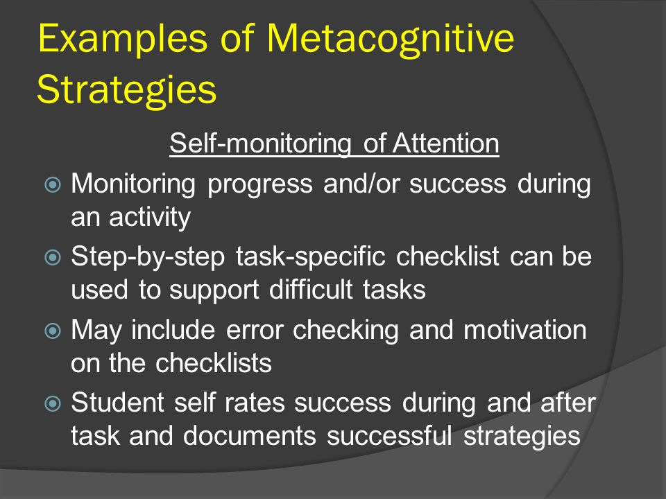 Examples of Metacognitive Strategies