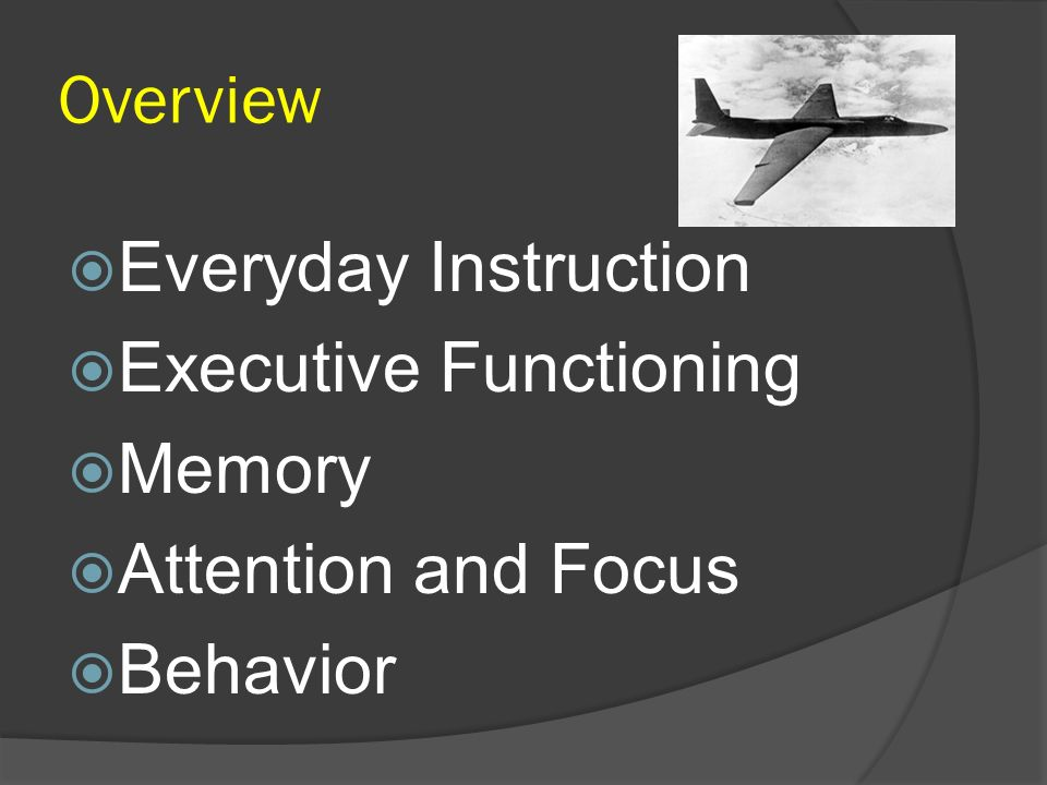 Overview Everyday Instruction Executive Functioning Memory Attention and Focus Behavior