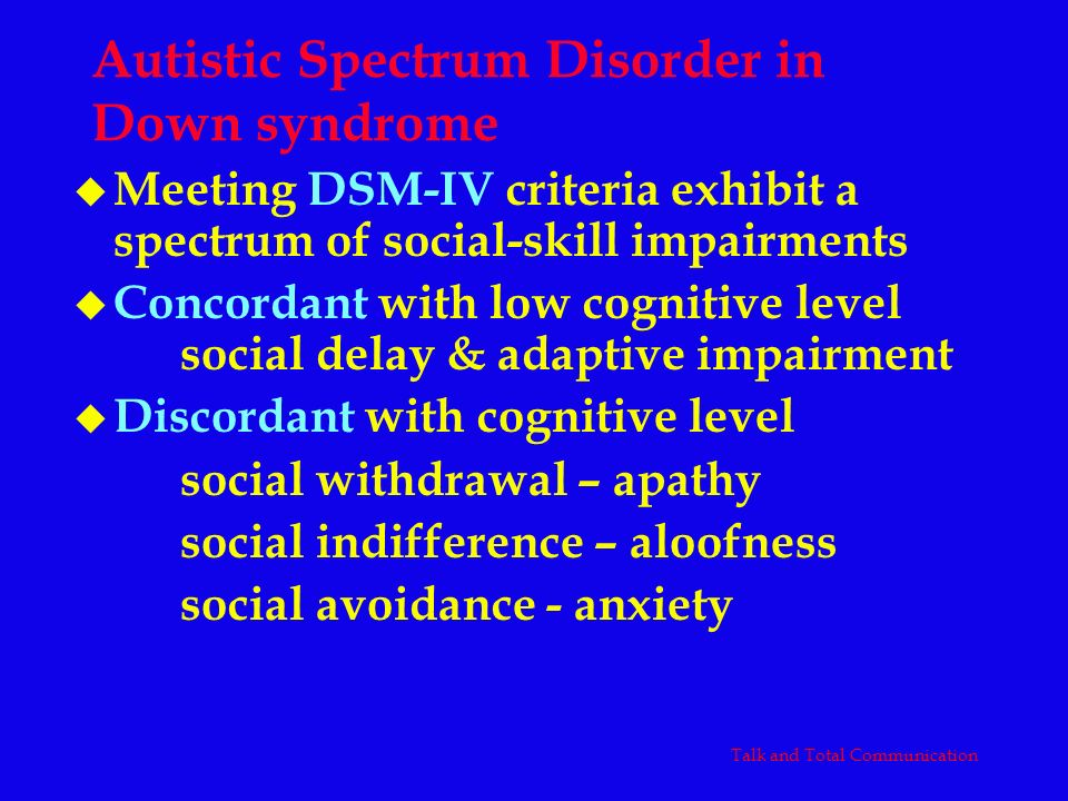 Autistic Spectrum Disorder in Down syndrome
