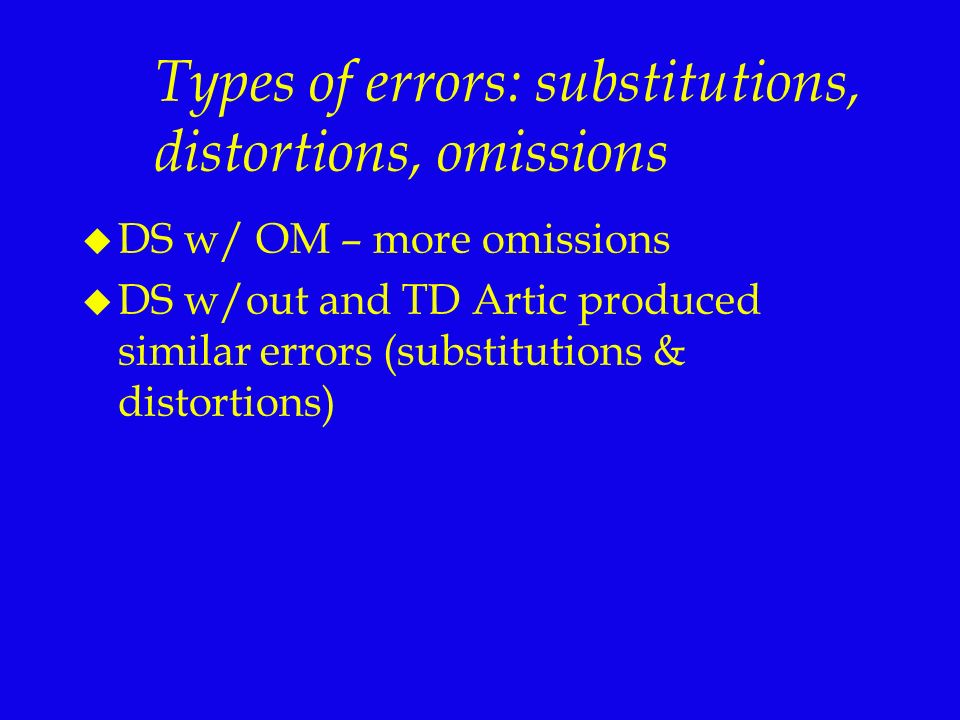 Types of errors: substitutions, distortions, omissions
