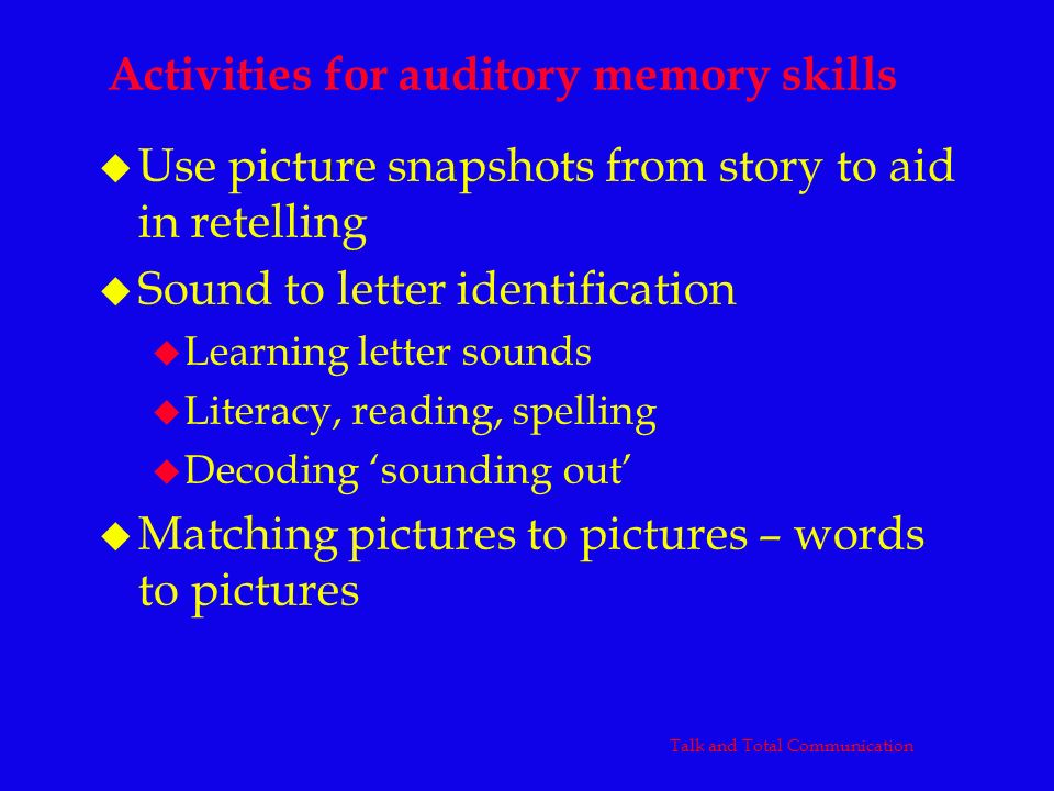 Activities for auditory memory skills