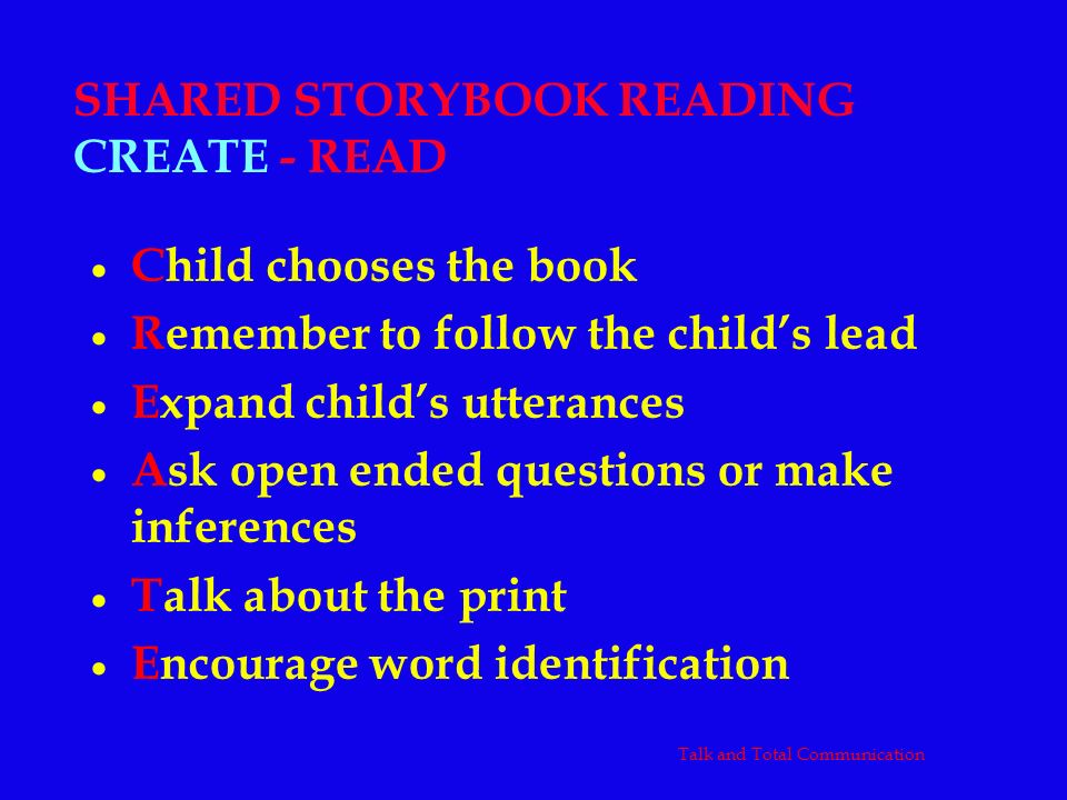 SHARED STORYBOOK READING CREATE - READ