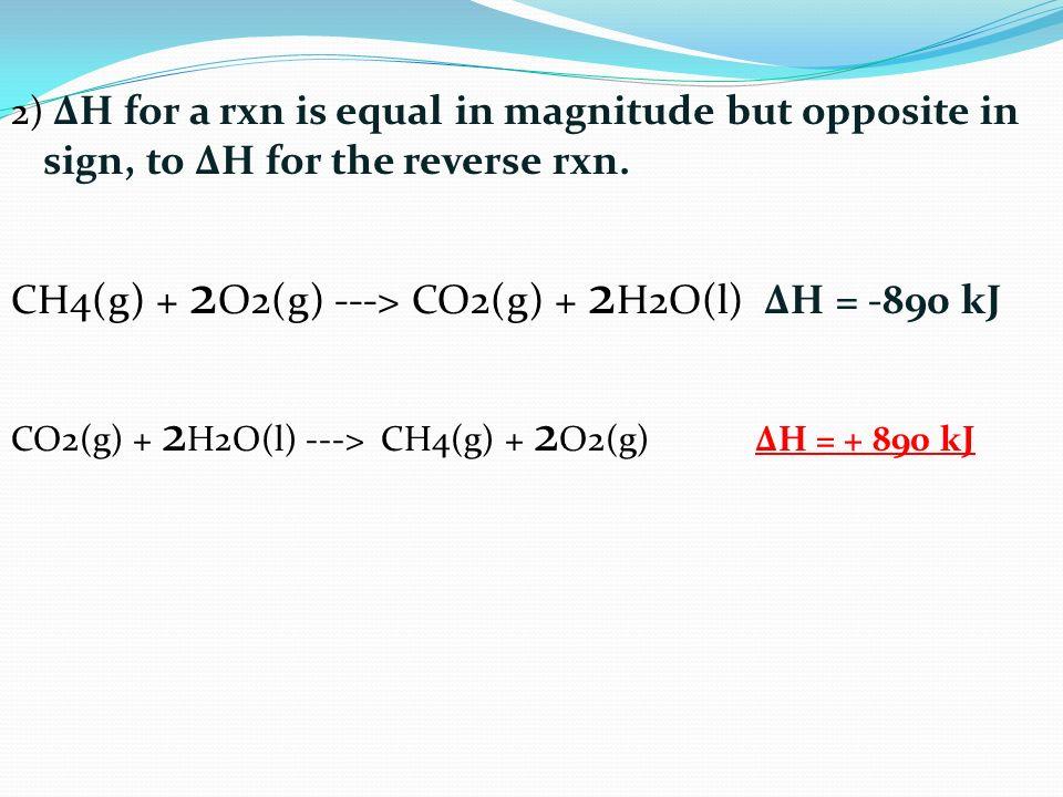 CH4(g) + 2O2(g) ---> CO2(g) + 2H2O(l) ΔH = -890 kJ