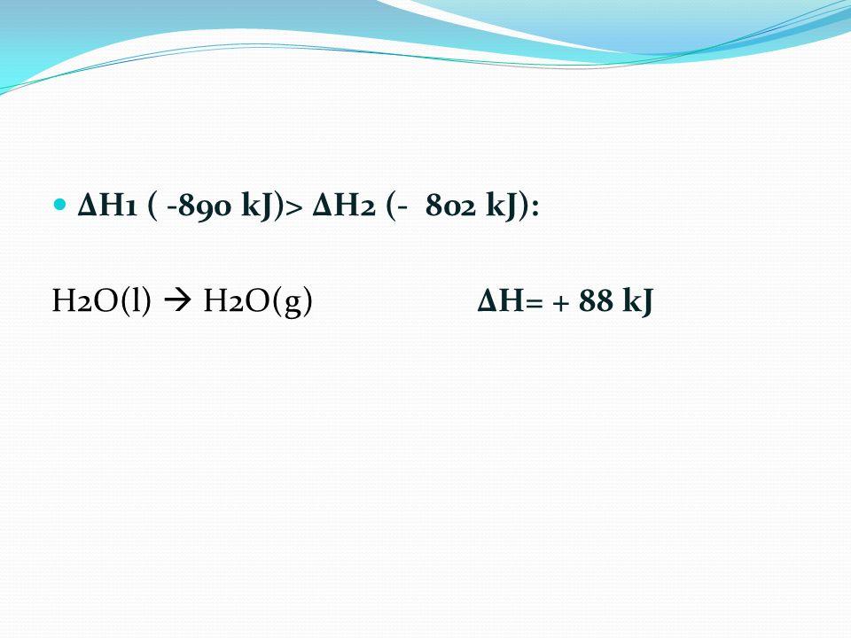 ΔH1 ( -890 kJ)> ΔH2 (- 802 kJ): H2O(l)  H2O(g) ΔH= + 88 kJ