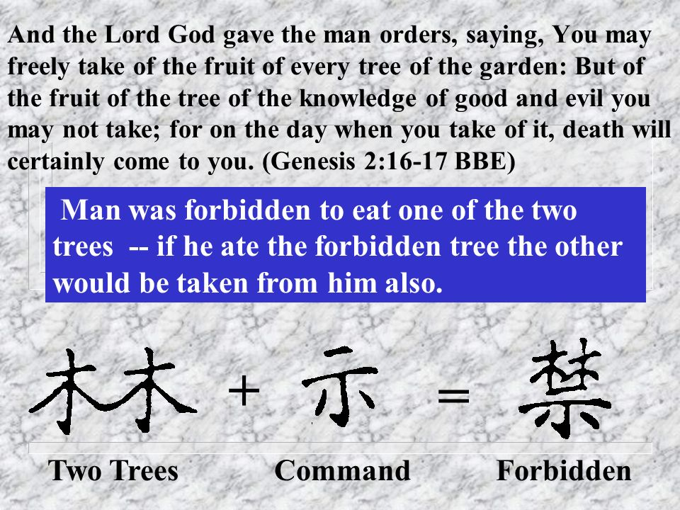And the Lord God gave the man orders, saying, You may freely take of the fruit of every tree of the garden: But of the fruit of the tree of the knowledge of good and evil you may not take; for on the day when you take of it, death will certainly come to you. (Genesis 2:16-17 BBE)