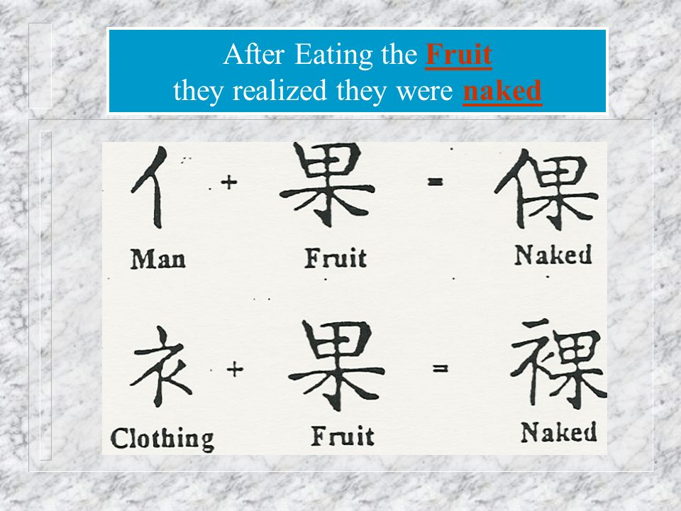 After Eating the Fruit they realized they were naked