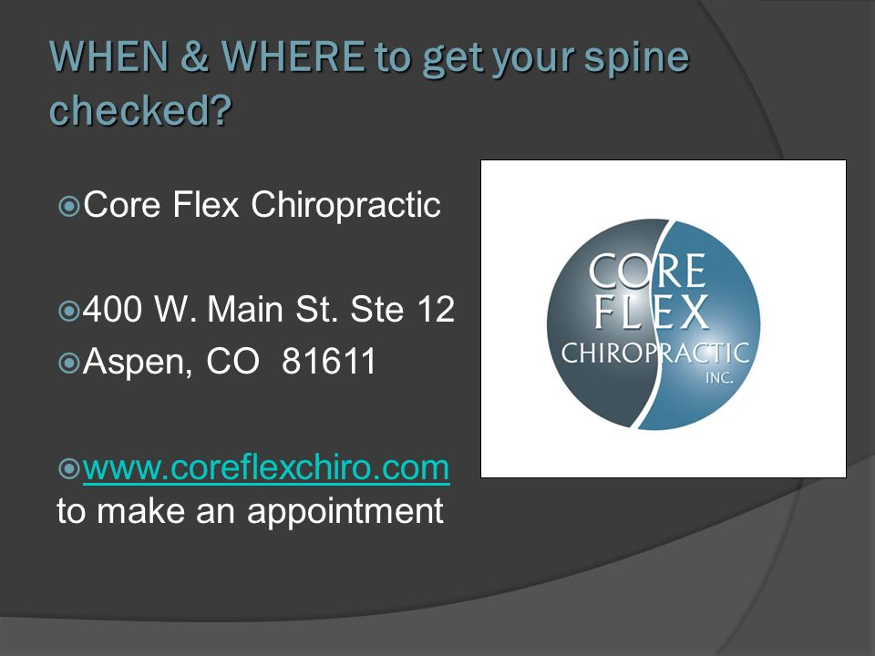 WHEN & WHERE to get your spine checked
