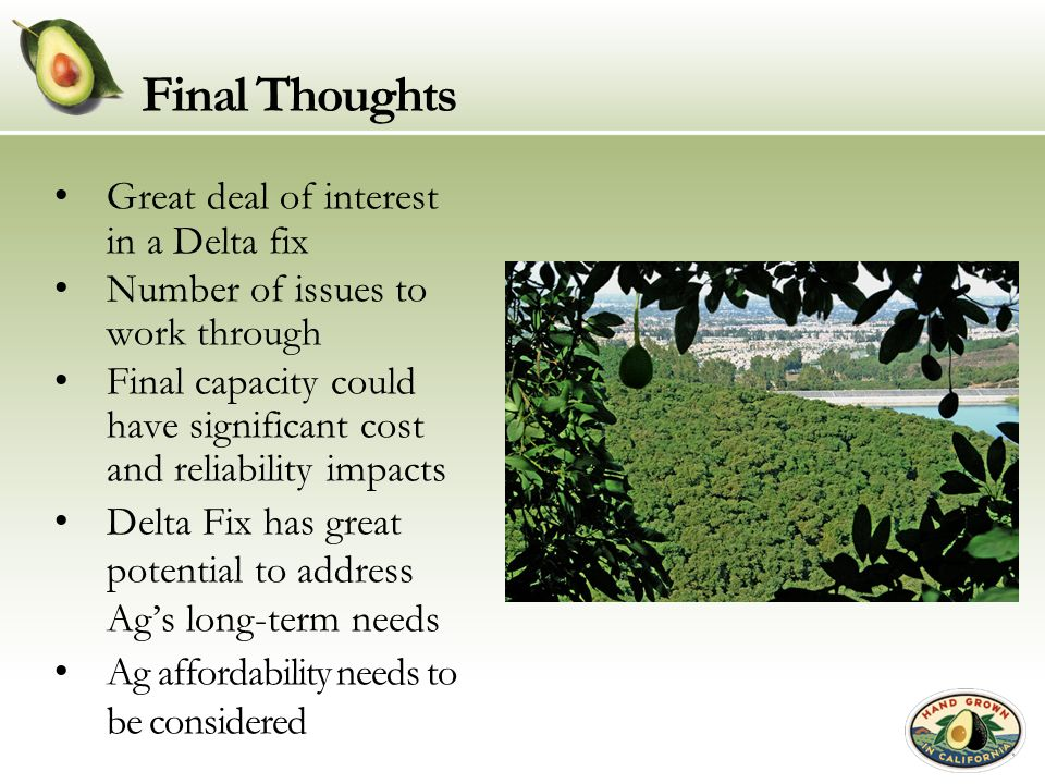 Final Thoughts Great deal of interest in a Delta fix