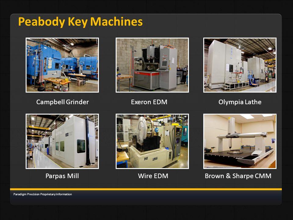 Peabody Key Machines Campbell Grinder Exeron EDM Olympia Lathe