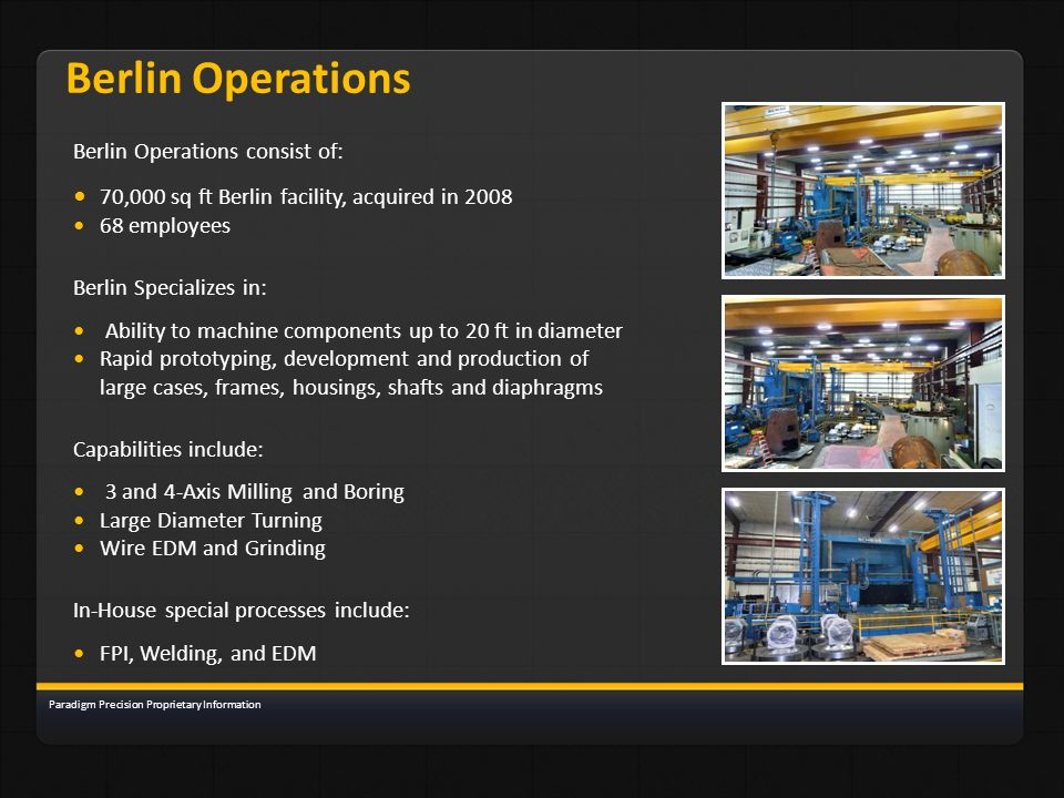 Berlin Operations • 70,000 sq ft Berlin facility, acquired in 2008