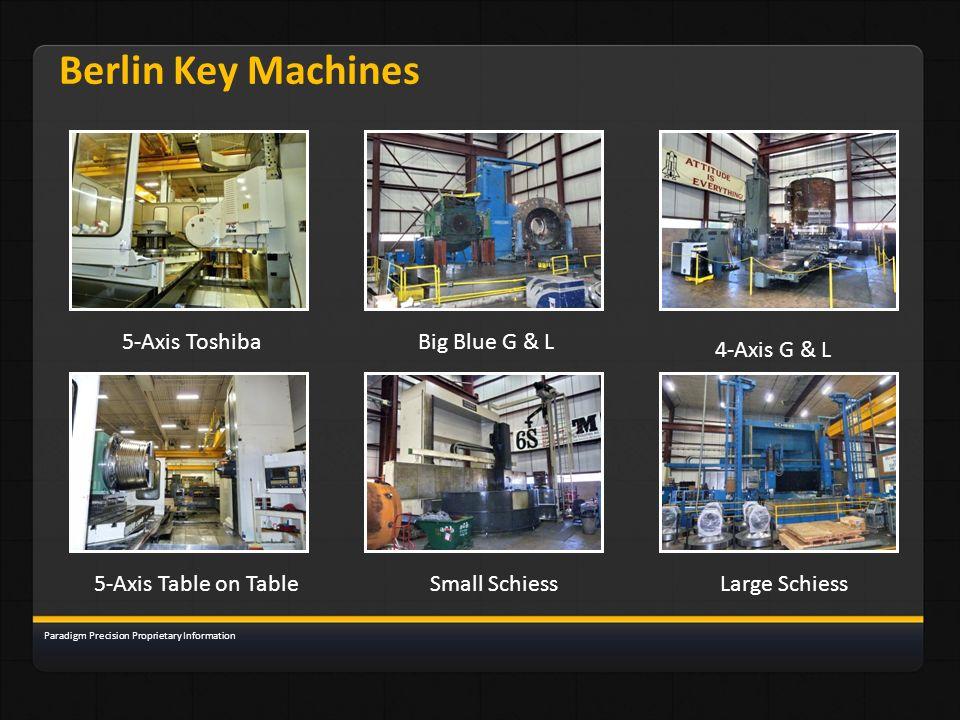 Berlin Key Machines 5-Axis Toshiba Big Blue G & L 4-Axis G & L