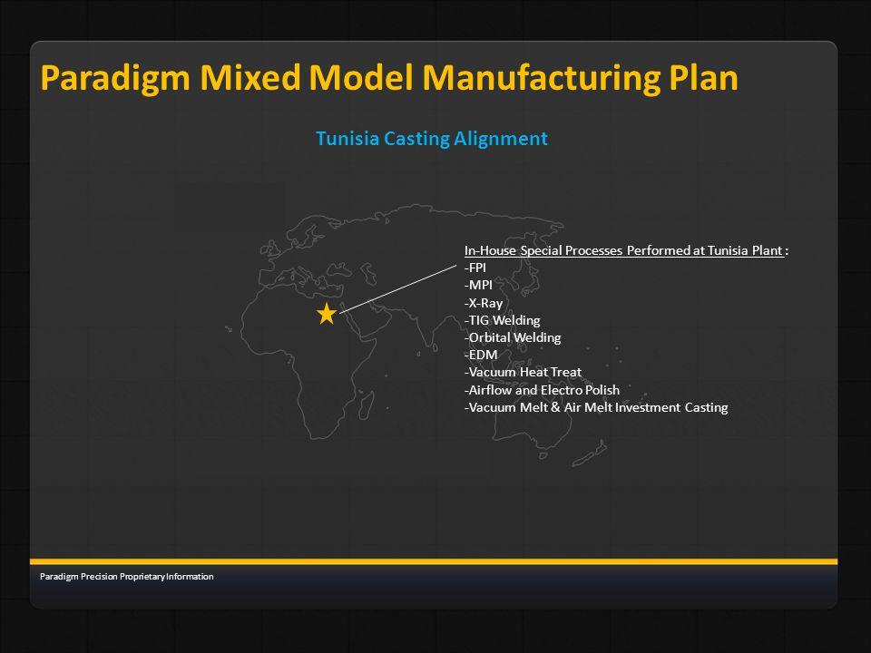 Paradigm Mixed Model Manufacturing Plan