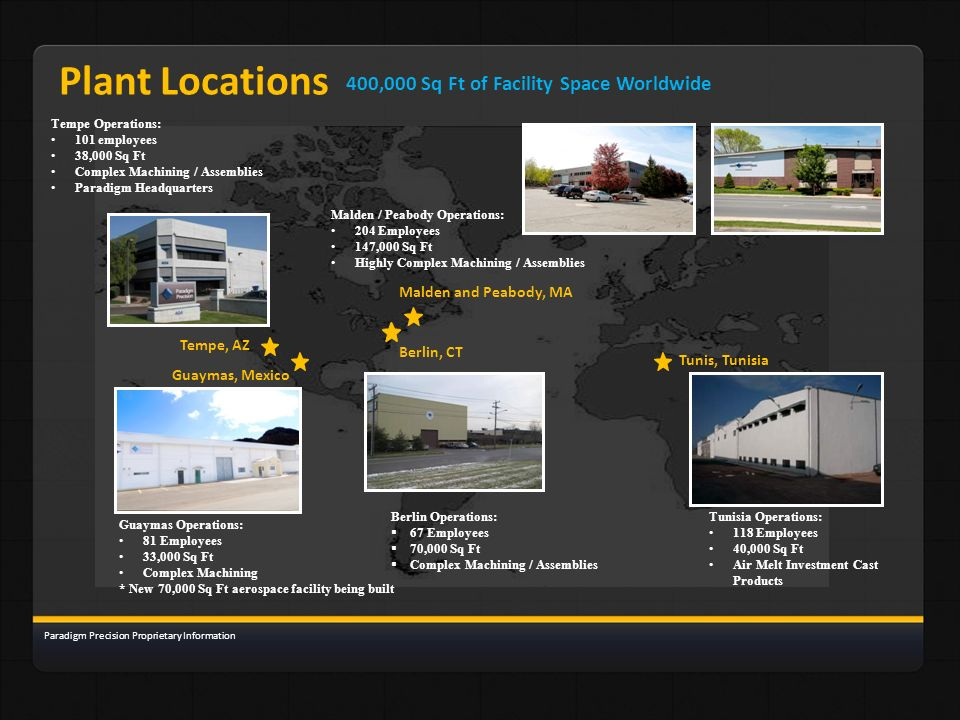 Plant Locations 400,000 Sq Ft of Facility Space Worldwide
