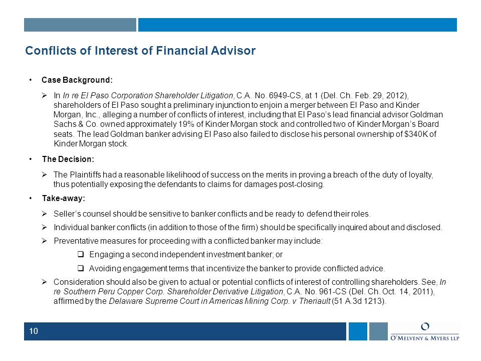Conflicts of Interest of Financial Advisor