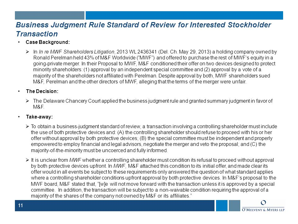 Business Judgment Rule Standard of Review for Interested Stockholder Transaction