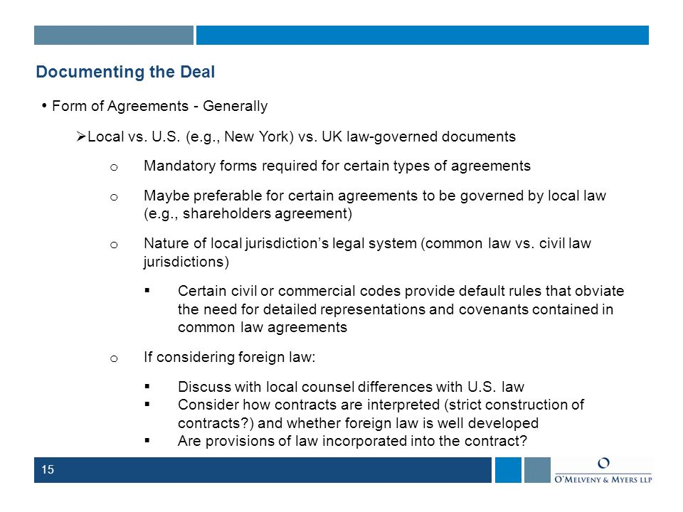 Form of Agreements - Generally