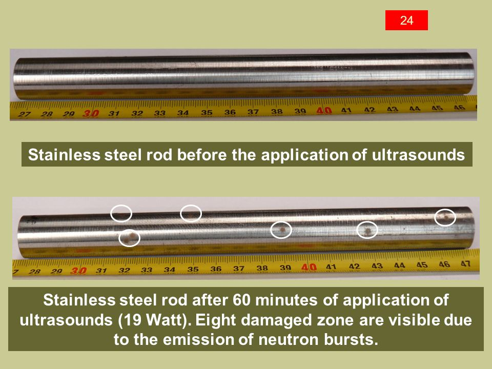 Stainless steel rod before the application of ultrasounds