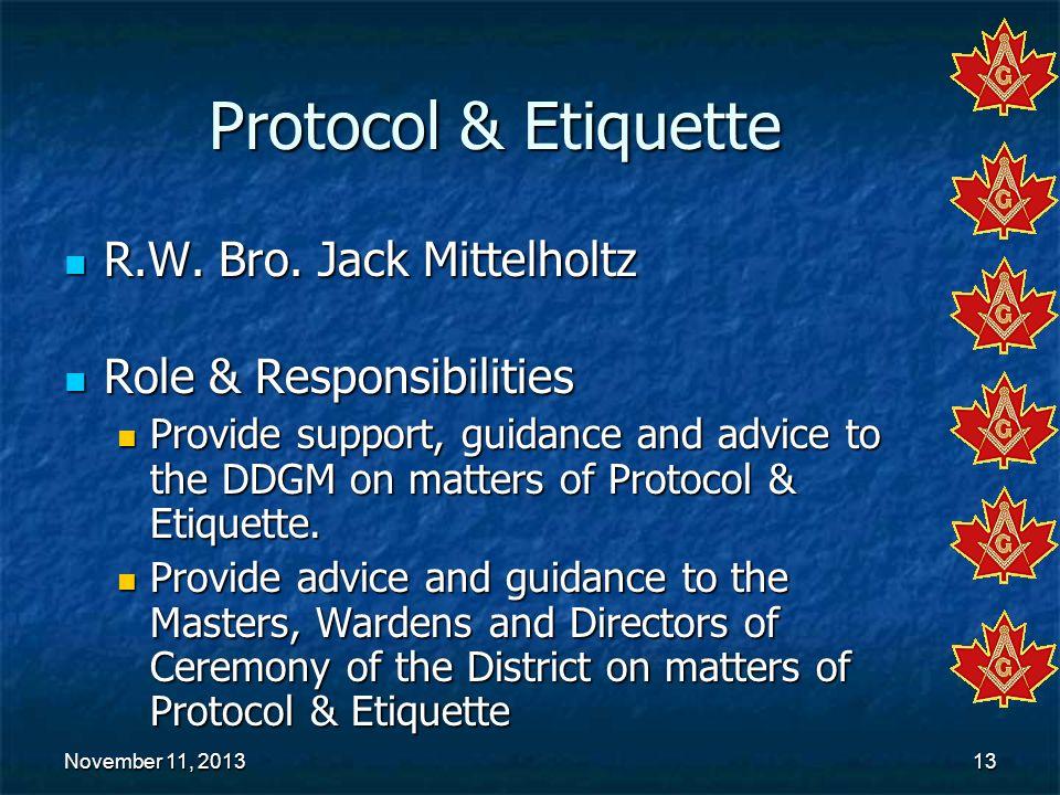 Protocol & Etiquette R.W. Bro. Jack Mittelholtz