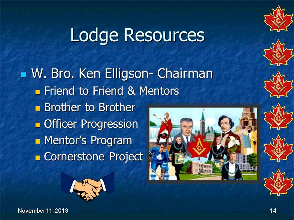 Lodge Resources W. Bro. Ken Elligson- Chairman