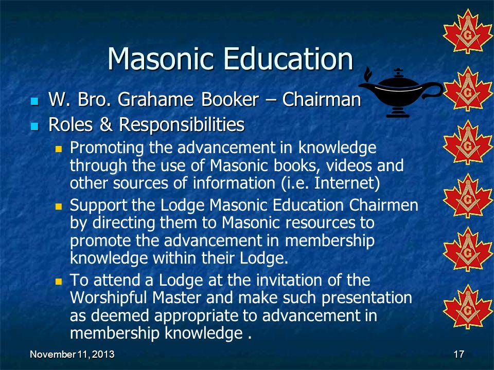 Masonic Education W. Bro. Grahame Booker – Chairman